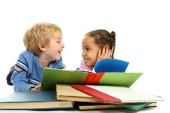 Boy and girl with books - Discover Book News!