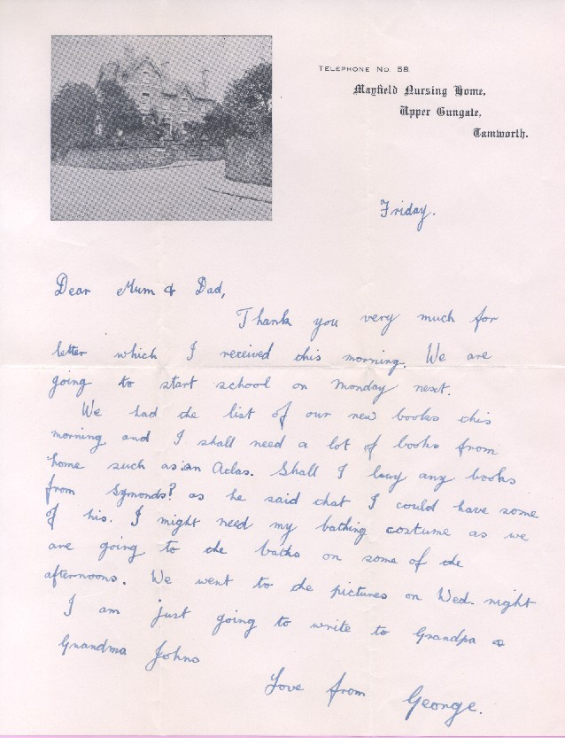 George An Evacuee S Story Letter From George To His Mum