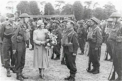 Inspection of Biggleswade Home Guard by H.M. The Queen